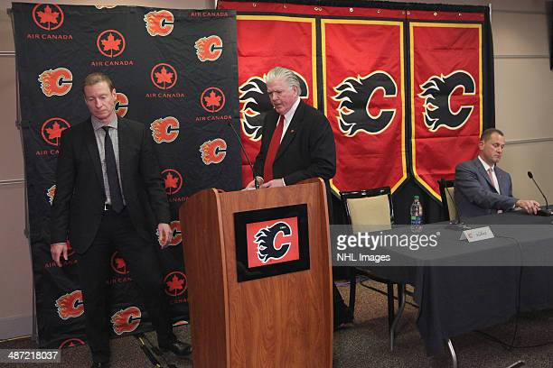 President of Hockey Operations Brian Burke of the Calgary Flames officially announces their new General Manager Brad Treliving at Scotiabank...
