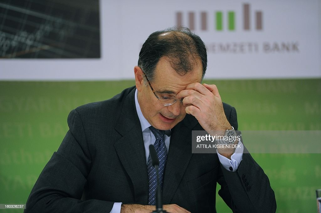 President of Hungarian central bank (MNB) Andras Simor holds a press conference in the headquarter of MNB in Budapest on January 29, 2013. The Hungarian central bank said it would reduced its main interest rate by a quarter of a point to 5.5 percent.