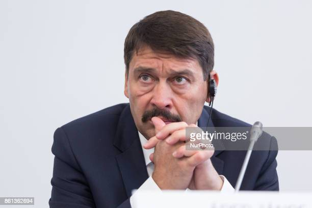 President of Hungary Janos Ader during a press conference after the meeting of heads of state of the Visegrad Group countries in Szekszard Hungary on...