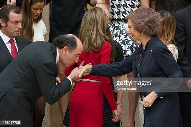 President of Iberdrola energy group Ignacio Sanchez Galan and Queen Sofia of Spain attend the Spanish National Sports Awards 2013 at the El Pardo...