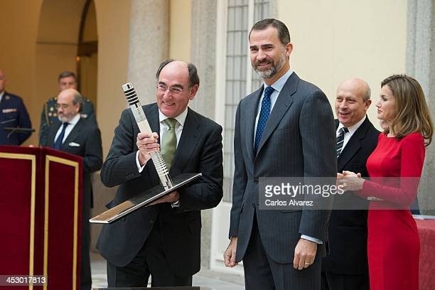 President of Iberdrola energy group Ignacio Sanchez Galan receives from Prince Felipe of Spain the Olimpia Award during the Spanish National Sports...