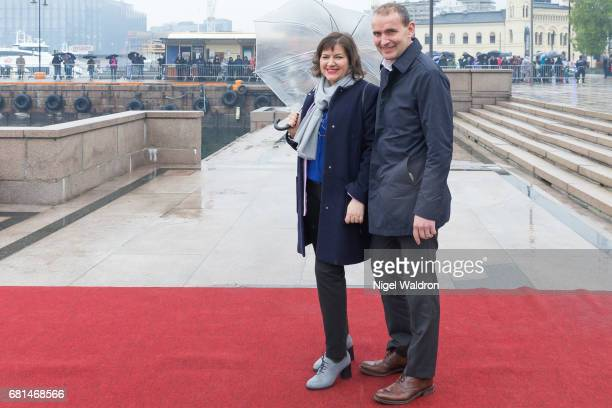President of Iceland Gudni Johannesson and First Lady of Iceland Eliza Jean Reid attend a lunch on the Norwegian Royal yatch 'Norge' to celebrate the...