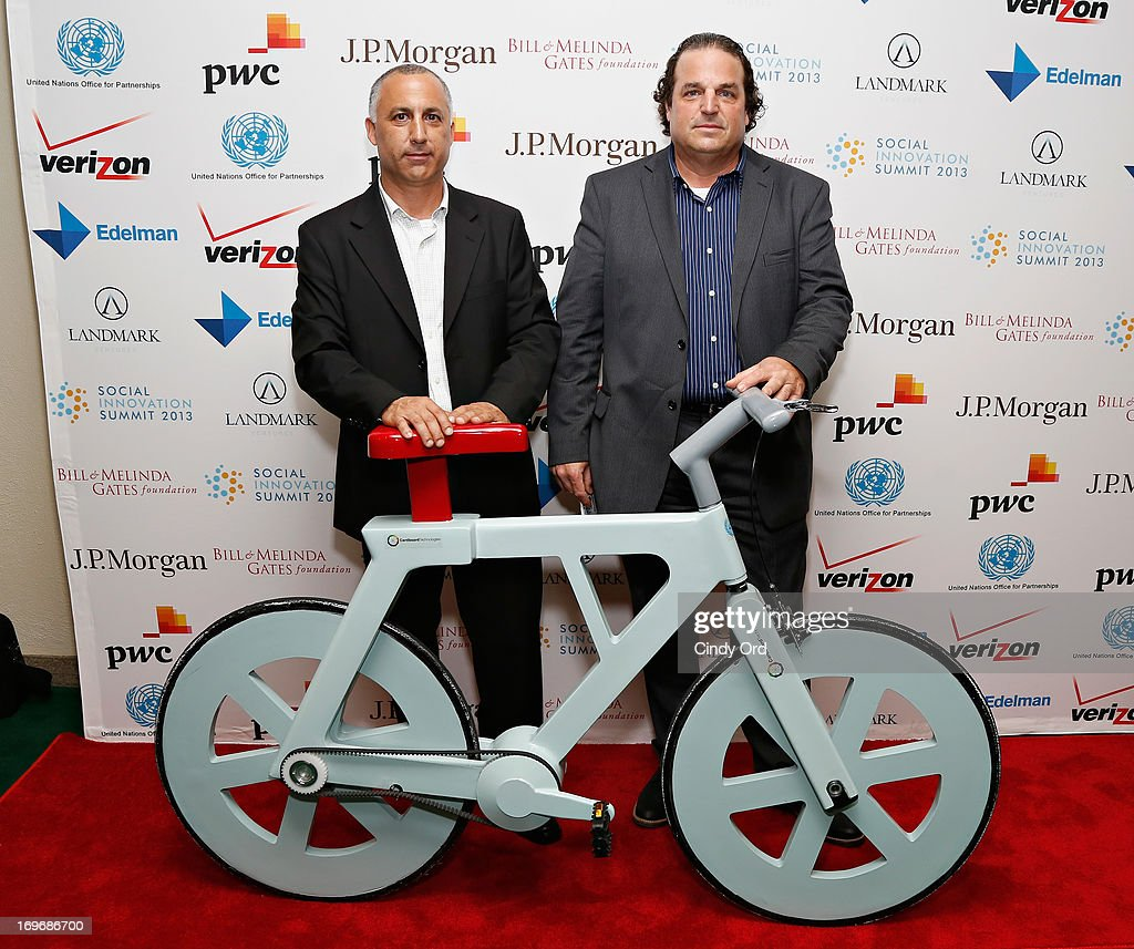 President of I.G. Cardboard Technologies Nimrod Elmish and Inventor of the cardboard bike Israeli engineer Izhar Gafni attend the Social Innovation Summit May 2013 - Day Two on May 30, 2013 in New York City.