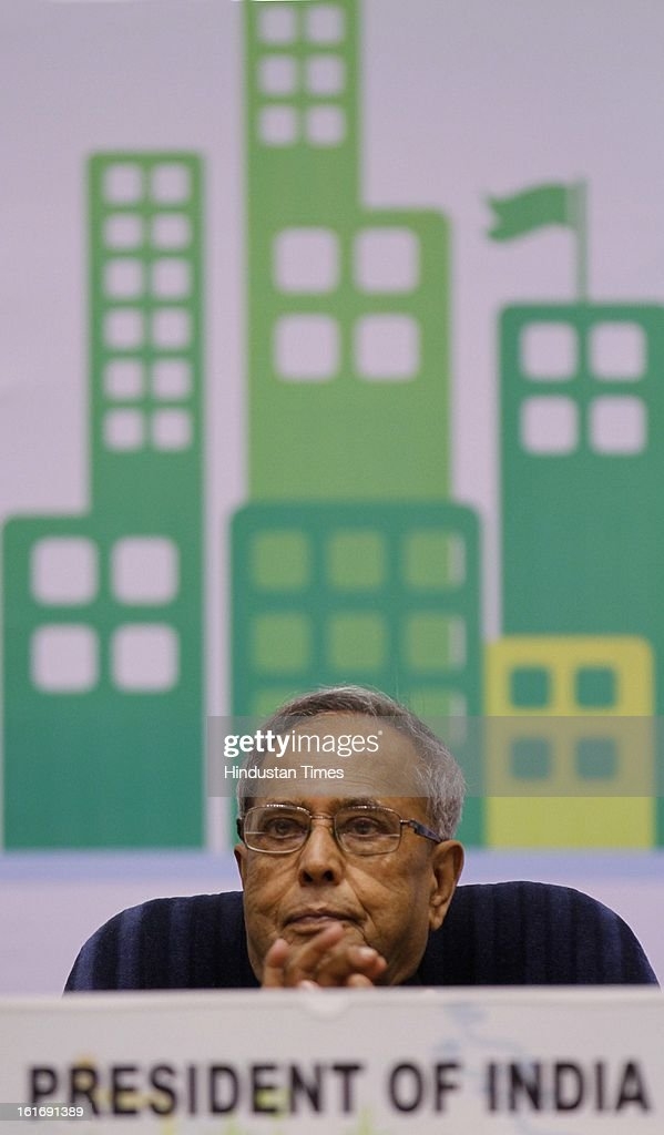 President of India Pranab Mukerjee during the National conference on Green Design at Vigyan Bhawan on February 14, 2013 in New Delhi, India.