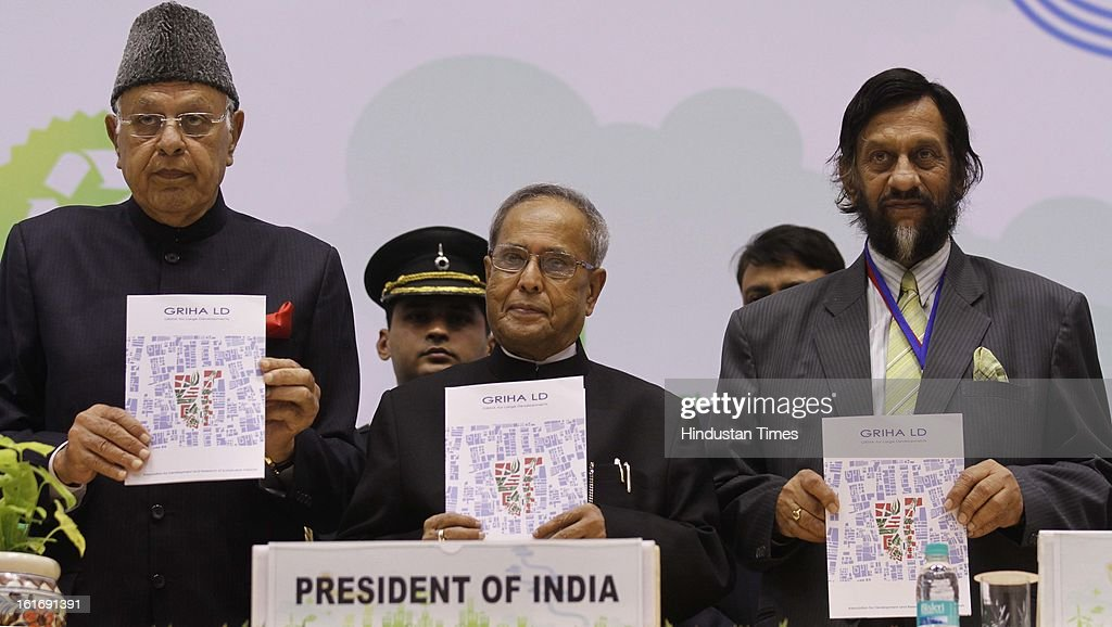 President of India Pranab Mukerjee (C), Farooq Abudullah (L) Renewable Energy Minister and Rajendra Kumar Pachauri (R) during the National conference on Green Design at Vigyan Bhawan on February 14, 2013 in New Delhi, India.