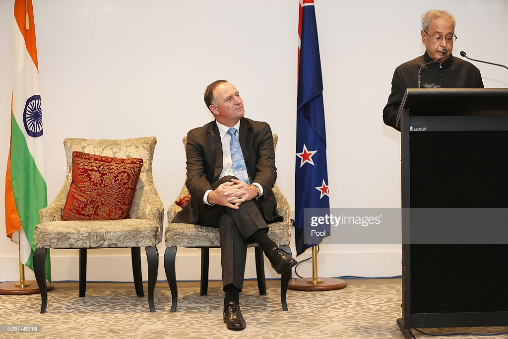 President of India Pranab Mukharjee and New Zealand Prime Minister John Key during the the signing of the New Zealand-India Air Services Agreement at The Langham Hotel Auckland on May 1, 2016 in Auckland, New Zealand. Mukharjee is on a three-day visit to New Zealand.