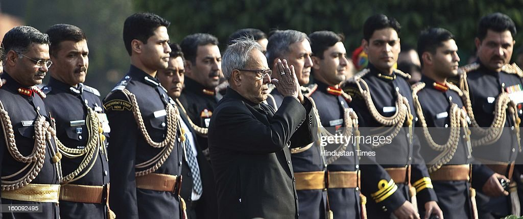 President of India Pranab Mukherjee at Rashtrapati Bhavan on Republic Day on January 26, 2013 in New Delhi, India. India marked its Republic Day with celebrations held under heavy security, especially in New Delhi where large areas were sealed off for an annual parade of military hardware.