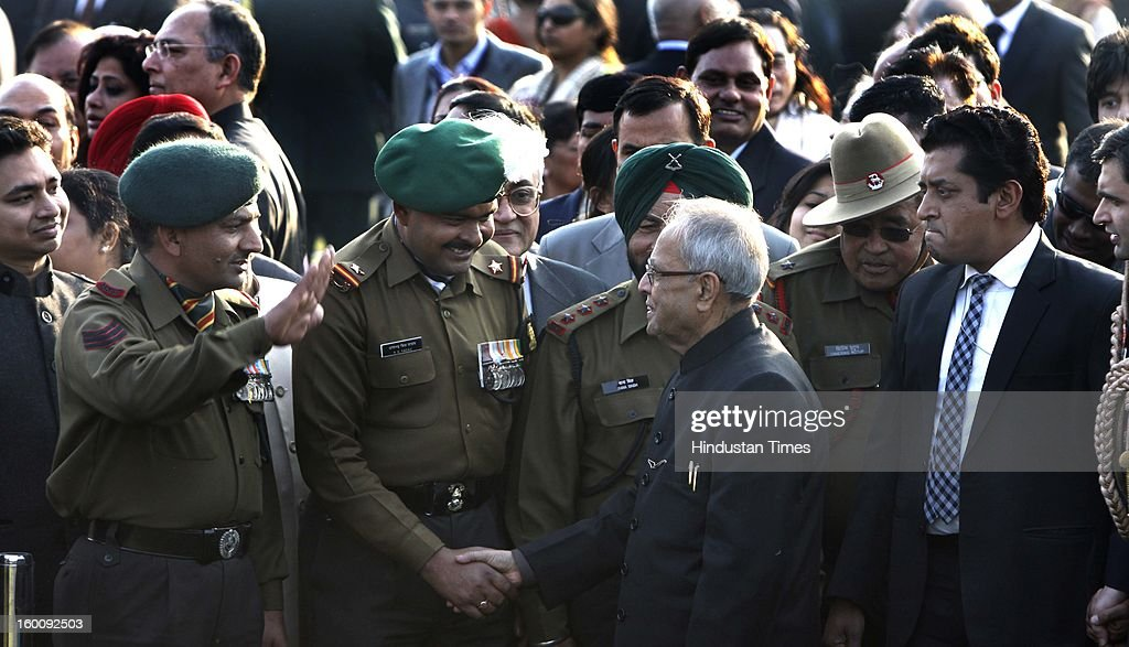 President of India Pranab Mukherjee meets invitees at Rashtrapati Bhavan on Republic Day on January 26, 2013 in New Delhi, India. India marked its Republic Day with celebrations held under heavy security, especially in New Delhi where large areas were sealed off for an annual parade of military hardware.