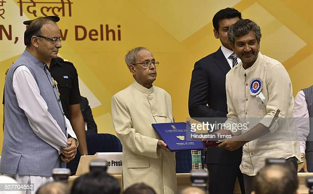 President of India Pranab Mukherjee presenting the Best Feature Film Award to Baahubali film director S S Rajamouli during the 63rd National Film...