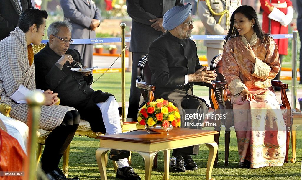 President of India Pranab Mukherjee with chief guest King of Bhutan, Jigme Khesar Namgyel Wangchuck, Prime Minister of India Dr. Manmohan Singh with Queen Jetsun Pema at Rashtrapati Bhavan on Republic Day on January 26, 2013 in New Delhi, India. India marked its Republic Day with celebrations held under heavy security, especially in New Delhi where large areas were sealed off for an annual parade of military hardware.