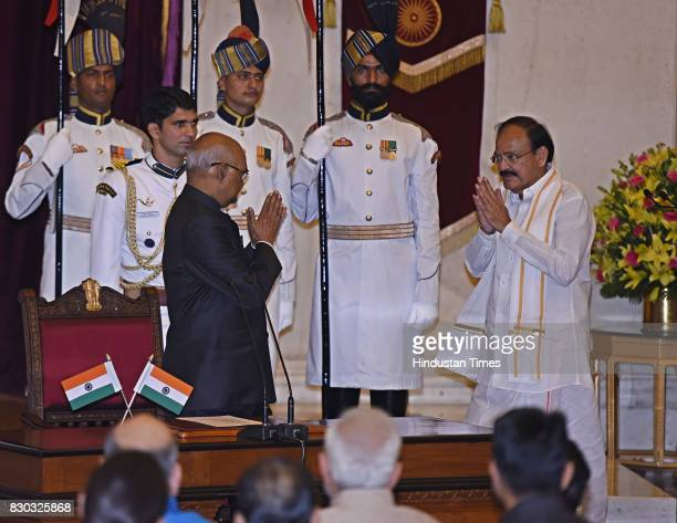 President of India Ram Nath Kovind administering the oath to M Venkaiah Naidu as the 13th VicePresident of India at the Darbar Hall Rashtrapati...