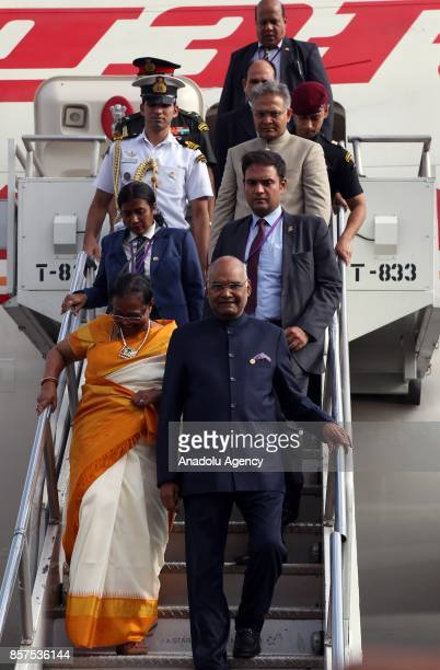 President of India Ram Nath Kovind and his wife Savita Kovind arrive at Addis Ababa Bole International Airport in Addis Ababa Ethiopia on October 04...