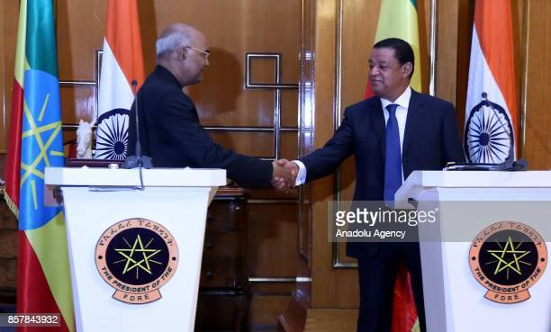 President of India Ram Nath Kovind and President of Ethiopia Mulatu Teshome Wirtu hold a joint press conference following their meeting in Addis...