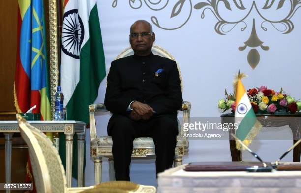 President of India Ram Nath Kovind and President of Ethiopia Mulatu Teshome Wirtu attend the signing of a cooperation agreement in Addis Ababa...