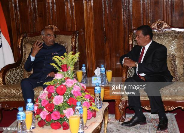 President of India Ram Nath Kovind meets with President of Ethiopia Mulatu Teshome Wirtu after an official welcoming ceremony at Addis Ababa Bole...