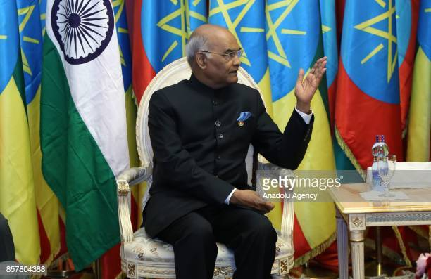President of India Ram Nath Kovind meets with President of Ethiopia Mulatu Teshome Wirtu at National Palace in Addis Ababa Ethiopia on October 5 2017