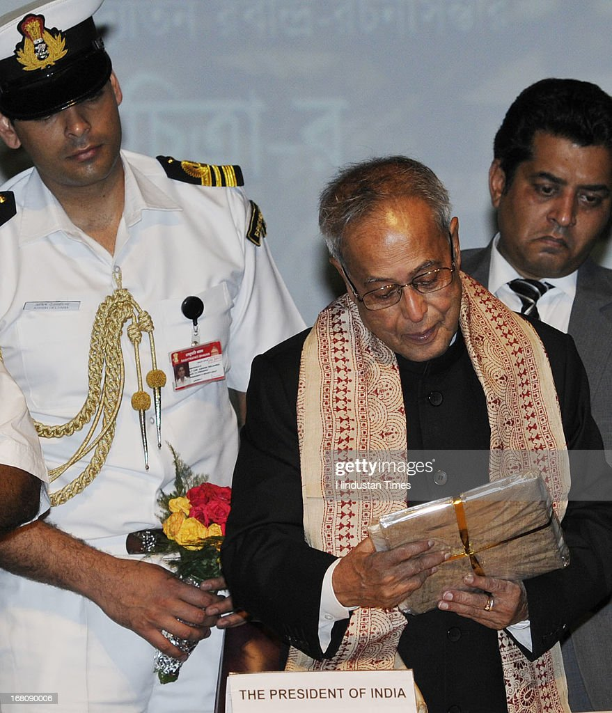 President of India Shri Pranab Mukherjee launching Bichitra Tagore Online Variorum , a digital collection of the works of Nobel Laureate Rabindranath Tagore in English and Bengali, at the Jadavpur University on May 5, 2013 in Kolkata, India. Mukherjee is on a three-day visit of West Bengal where he will attend the valedictory function of 150th anniversary celebrations of the Calcutta High Court.