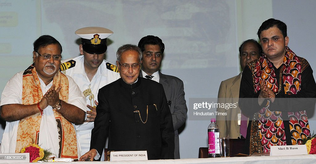 President of India Shri Pranab Mukherjee with Partha Chatterjee West Bengal Commerce Minister (L) and Bratya Basu Education Minister Kolkata (R) during the launch of Bichitra Tagore Online Variorum, a digital collection of the works of Nobel Laureate Rabindranath Tagore in English and Bengali, at the Jadavpur University on May 5, 2013 in Kolkata, India. Mukherjee is on a three-day visit of West Bengal where he will attend the valedictory function of 150th anniversary celebrations of the Calcutta High Court.