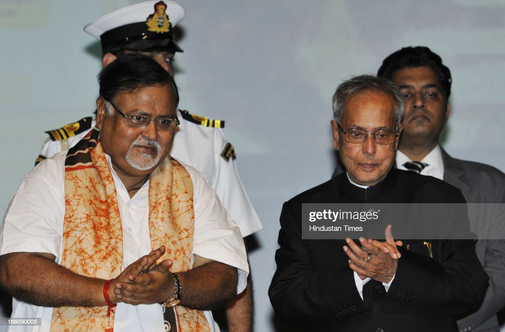 President of India Shri Pranab Mukherjee with Partha Chatterjee West Bengal Commerce Minister (L) during the launch of Bichitra Tagore Online Variorum, a digital collection of the works of Nobel Laureate Rabindranath Tagore in English and Bengali, at the Jadavpur University on May 5, 2013 in Kolkata, India. Mukherjee is on a three-day visit of West Bengal where he will attend the valedictory function of 150th anniversary celebrations of the Calcutta High Court.