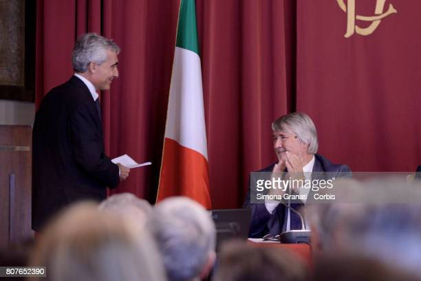 President of INPS Tito Boeri and Minister of Labor Giuliano Poletti during the Annual Report to the Chamber of Deputies on July 04 2017 in Rome Italy