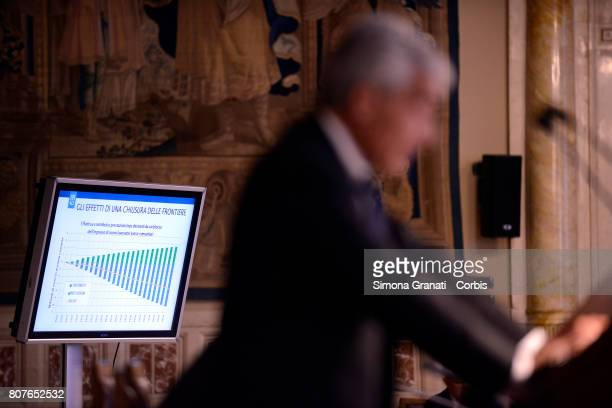 President of INPS Tito Boeri shows the effects of border closures on migrants during the Annual Report to the Chamber of Deputies on July 04 2017 in...