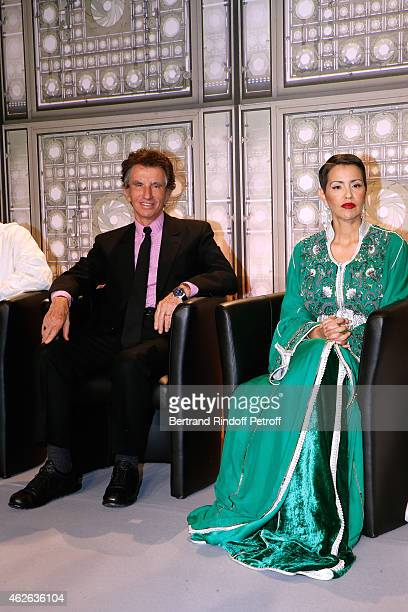 President of Institut du Monde Arabe Jack Lang and HRH The Princess Lalla Meryem of Morocco who delivers the insignia of the Order of the Throne Held...