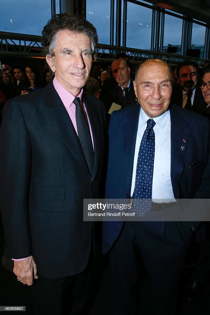 President of Institut du Monde Arabe, <a gi-track='captionPersonalityLinkClicked' href=/galleries/search?phrase=Jack+Lang&family=editorial&specificpeople=220296 ng-click='$event.stopPropagation()'>Jack Lang</a> and <a gi-track='captionPersonalityLinkClicked' href=/galleries/search?phrase=Serge+Dassault&family=editorial&specificpeople=780308 ng-click='$event.stopPropagation()'>Serge Dassault</a> attend HRH The Princess Lalla Meryem of Morocco delivers the insignia of the Order of the Throne. Held at Institut du Monde Arabe on February 1, 2015 in Paris, France.