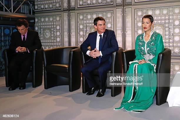 President of Institut du Monde Arabe Jack Lang French Prime Minister Manuel Valls and HRH The Princess Lalla Meryem of Morocco who delivers the...