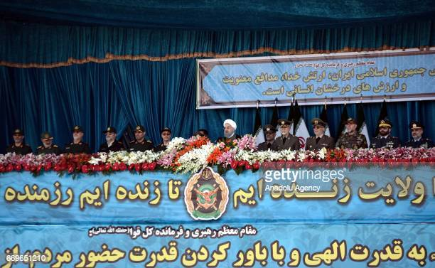 President of Iran Hassan Rouhani addresses the crowd during a military parade to mark the National Army Day in Tehran Iran on April 18 2017