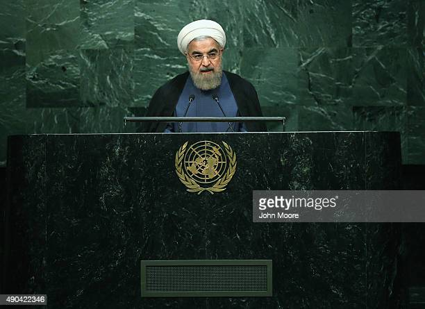 President of Iran Hassan Rouhani addresses the United Nations General Assembly on September 28 2015 in New York City World leaders gathered for the...