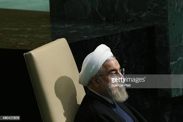 President of Iran Hassan Rouhani addresses the United Nations General Assembly at UN headquarters on September 28 2015 in New York City The ongoing...