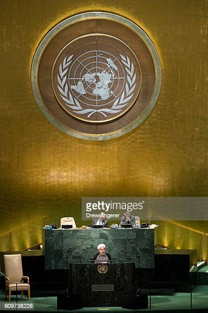 President of Iran Hassan Rouhani addresses the United Nations General Assembly at UN headquarters September 22 2016 in New York City According to the...