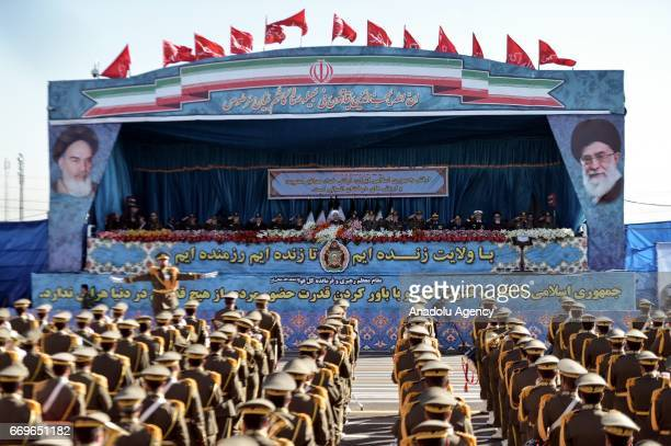 President of Iran Hassan Rouhani attends a military parade to mark the National Army Day in Tehran Iran on April 18 2017
