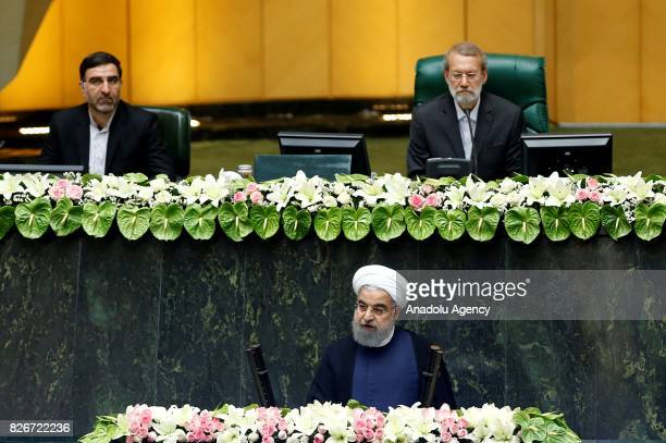 President of Iran Hassan Rouhani delivers a speech after his swearing in ceremony for his second term of presidency at the Iranian parliament in...