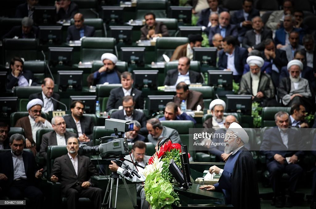 President of Iran, Hassan Rouhani delivers a speech during the first session of the 10th Parliament of Iran, in Tehran, Iran on May 28, 2016.
