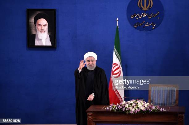 President of Iran Hassan Rouhani gestures during a press conference held at Leaders Conference Centre in Tehran Iran on May 22 2017 Rouhani won the...