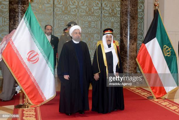 President of Iran Hassan Rouhani is welcomed by Emir of Kuwait Sabah Al Ahmad Al Jaber Al Sabah at Kuwait International Airport's hall in Kuwait City...