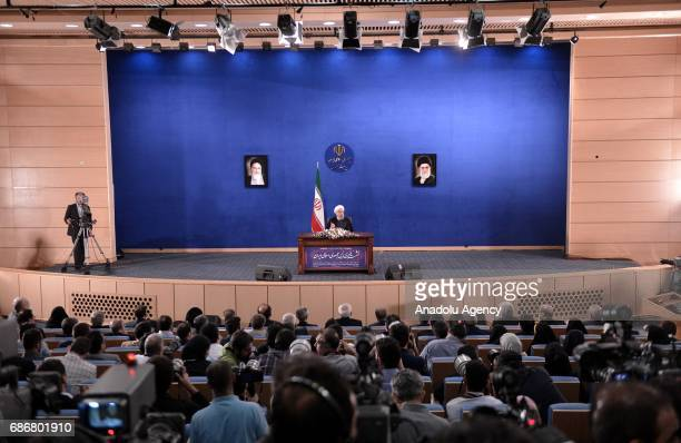 President of Iran Hassan Rouhani speaks during a press conference held at Leaders Conference Centre in Tehran Iran on May 22 2017 Rouhani won the...