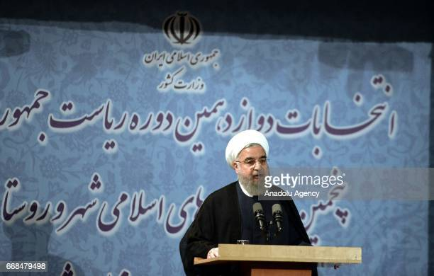 President of Iran Hassan Rouhani speaks during a press conference in in Tehran Iran on April 14 2017 after he submitted his application of candidacy...