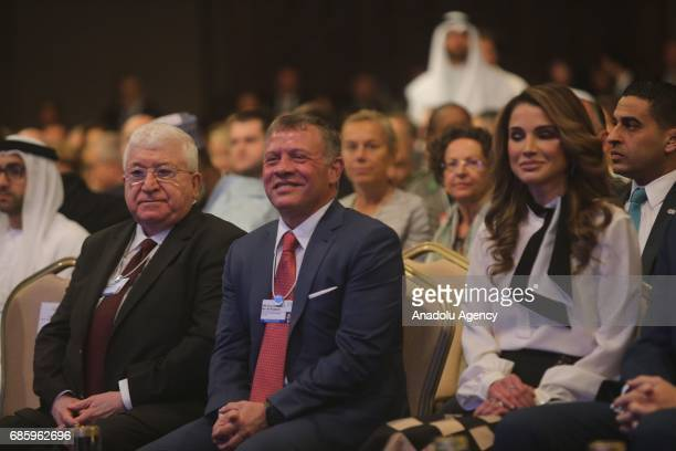 President of Iraq Fuad Masum and King Abdullah II bin alHussein of Jordan attend World Economic Forum regional meeting in Amman Jordan on May 20 2017