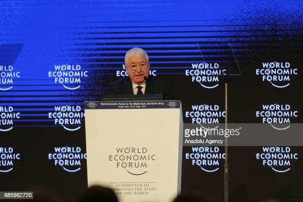 President of Iraq Fuad Masum delivers a speech during the World Economic Forum regional meeting in Amman Jordan on May 20 2017