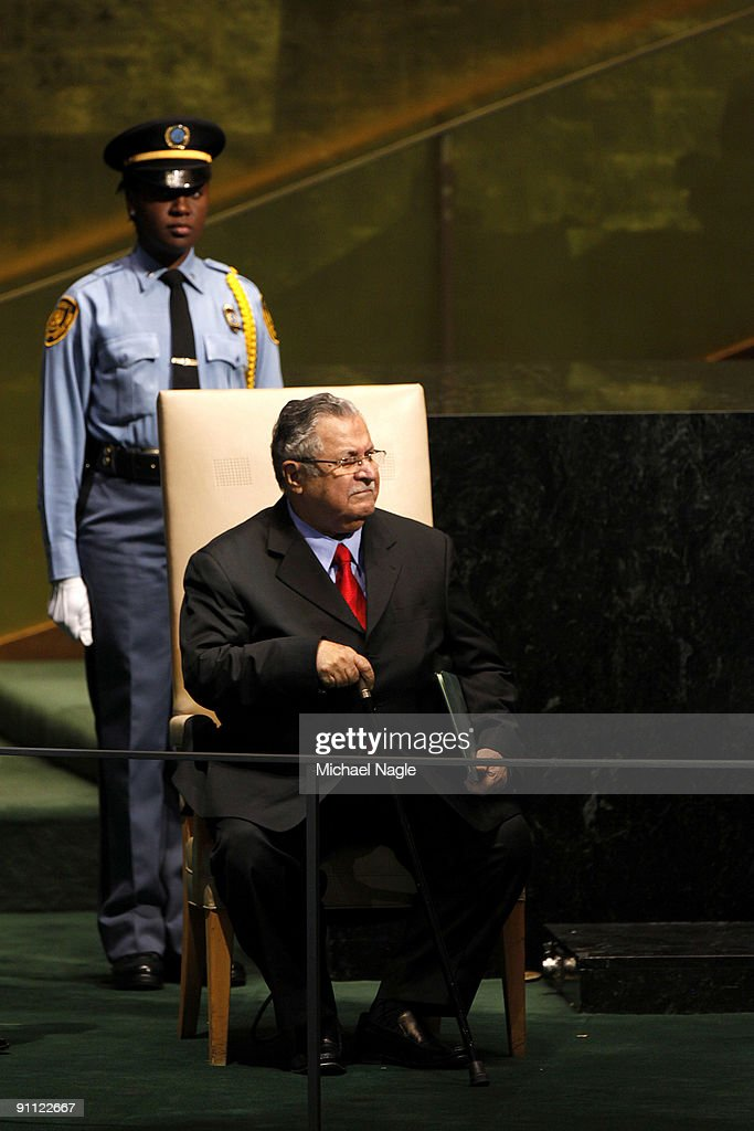 President of Iraq <a gi-track='captionPersonalityLinkClicked' href=/galleries/search?phrase=Jalal+Talabani&family=editorial&specificpeople=213582 ng-click='$event.stopPropagation()'>Jalal Talabani</a> (R) addresses the United Nations General Assembly at the U.N. headquarters on September 24, 2009 in New York City. This is the 64th session of the United Nations General Assembly featuring leaders from over 120 countries.