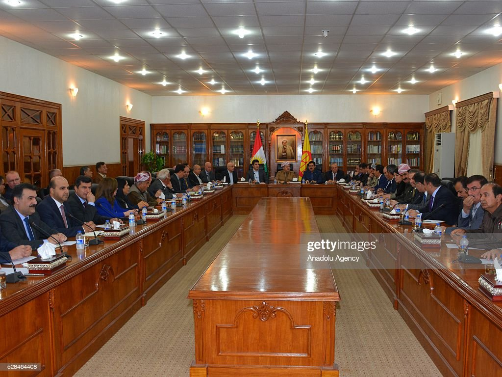 President of Iraqi Kurdish Regional Government (KRG) Masoud Barzani (C) leads Kurdistan Democratic Party presidential council meeting in Erbil, Iraq on May 5, 2016.