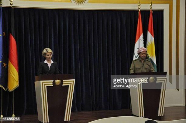 President of Iraqi Kurdish Regional Government Massud Barzani and German defense Minister Ursula von der Leyen speak during a press conference in...