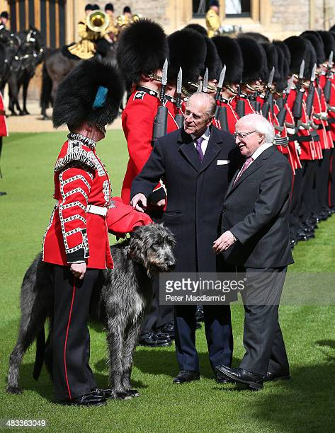 President of Ireland Michael D Higgins presents a new coat to the Irish Guards wolfhound mascot as Prince Philip Duke of Edinburgh gestures at...