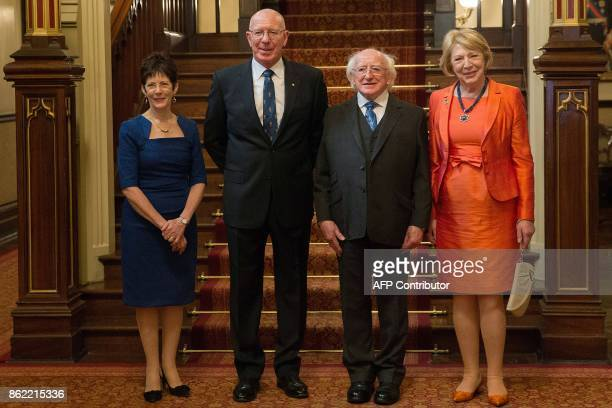 President of Ireland Michael Higgins and his wife Sabina pose for photos with New South Wales' Governor David Hurley and his wife Linda at Government...
