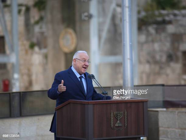 President of Israel Reuven Rivlin gestures as he speaks during an event at the Wailing Wall held to commemorate the 50th anniversary of reunification...
