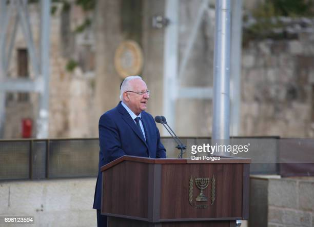 President of Israel Reuven Rivlin speaks during an event at the Wailing Wall held to commemorate the 50th anniversary of reunification of the City of...