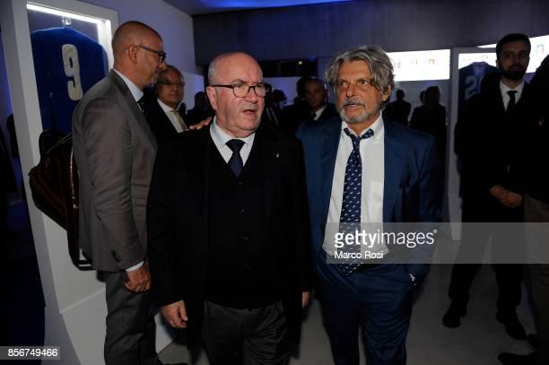 President of Italian Football Federation Carlo Tavecchio and Massimo Ferrero President of US Sampdoria during the new Italian Football Federation...
