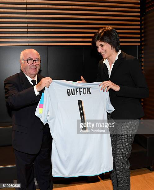 President of Italian Football Federation Carlo Tavecchio and Mayor of Turin Chiara Appendino pose for photographers during the FIFA 2018 World Cup...